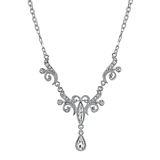 1928 Jewelry Crystal Drop Silver Tone Necklace