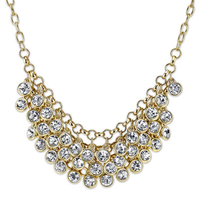 1928® Jewelry Crystal Cluster Gold-Tone Bib Necklace