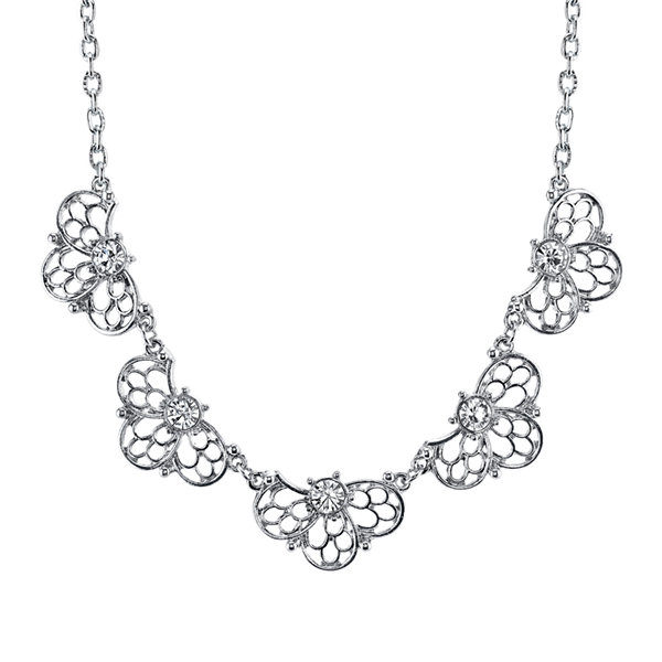 1928® Jewelry Crystal Silver-Tone Filigree Necklace