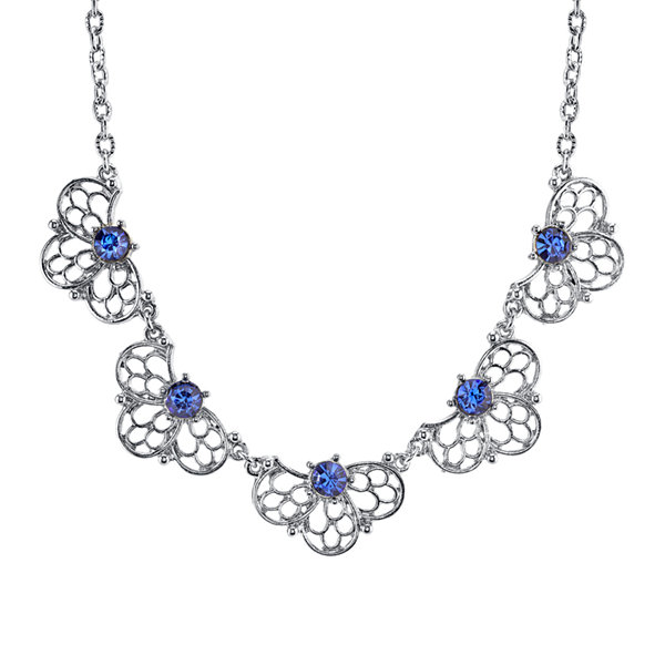 1928® Jewelry Blue Crystal Silver-Tone Filigree Necklace