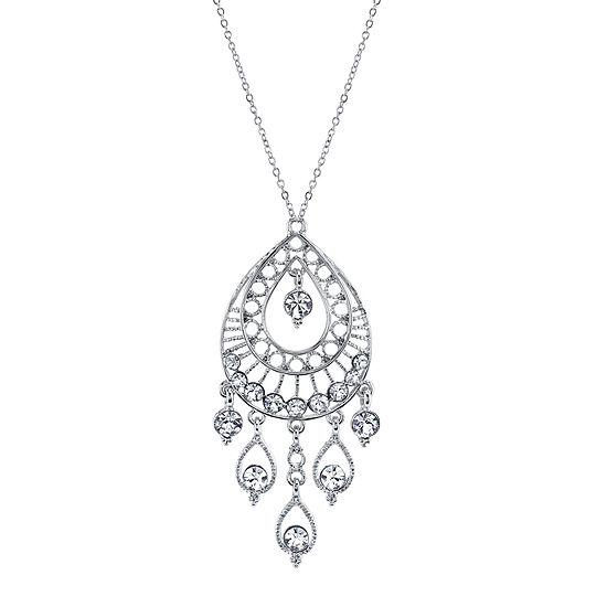 1928® Jewelry Crystal Teardrop Silver-Tone Pendant Necklace