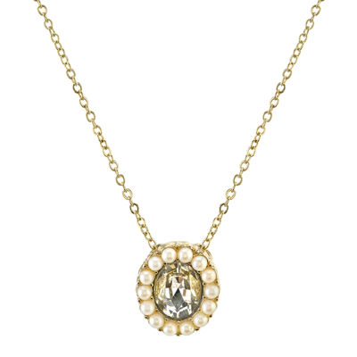1928® Jewelry Simulated Pearl and Crystal Drop Necklace