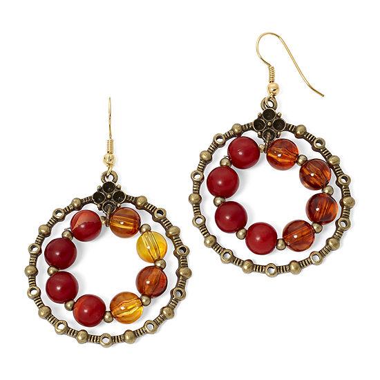 Aris by Treska Red Bead Circle Drop Earrings