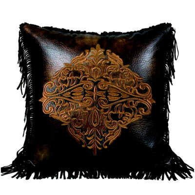 HiEnd Accents Austin Embroidered Faux-Leather Square Decorative Pillow