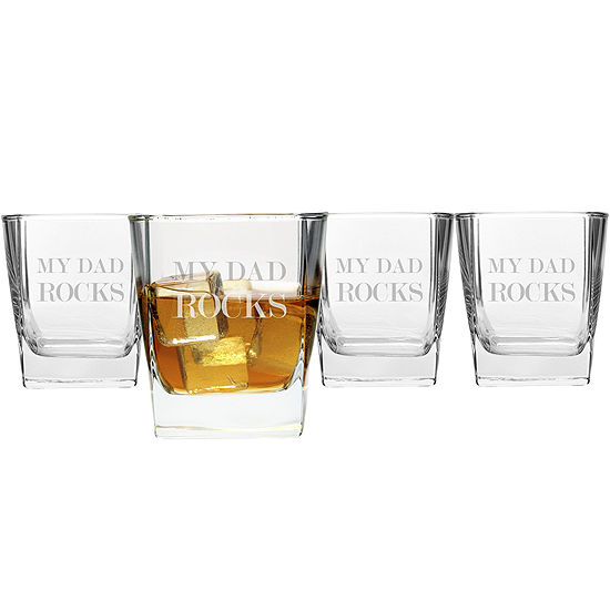 """Cathy's Concepts """"My Dad Rocks"""" Set of 4 Lowball Glasses"""