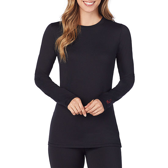 Cuddl Duds Infrared Womens Pajama Top Fitted Sleeve Crew Neck