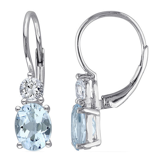 Genuine Blue Topaz Sterling Silver Drop Earrings