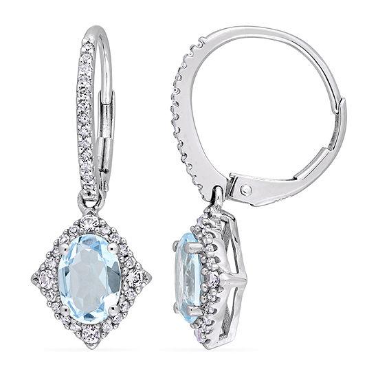 1/5 CT. T.W. Genuine Blue Topaz 10K White Gold Drop Earrings