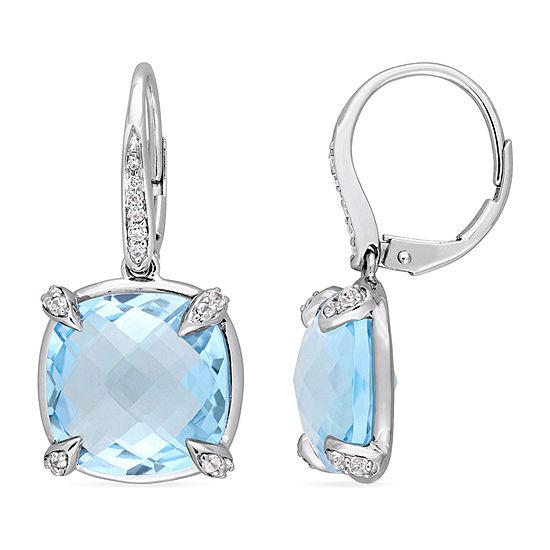 Diamond Accent Genuine Blue Topaz 14K White Gold Drop Earrings