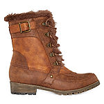 Pop Womens Twill Lace Up Boots Block Heel