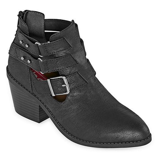 Pop Womens Conant Motorcycle Boots Block Heel