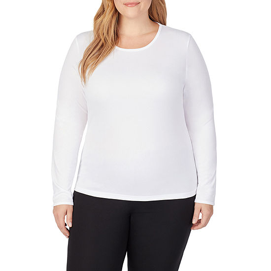Cuddl Duds Climatesmart Womens-Plus Pajama Top Crew Neck