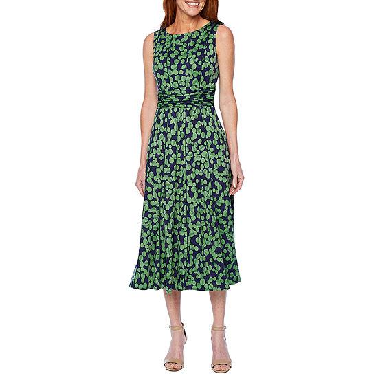 Perceptions Sleeveless Dots Fit & Flare Dress