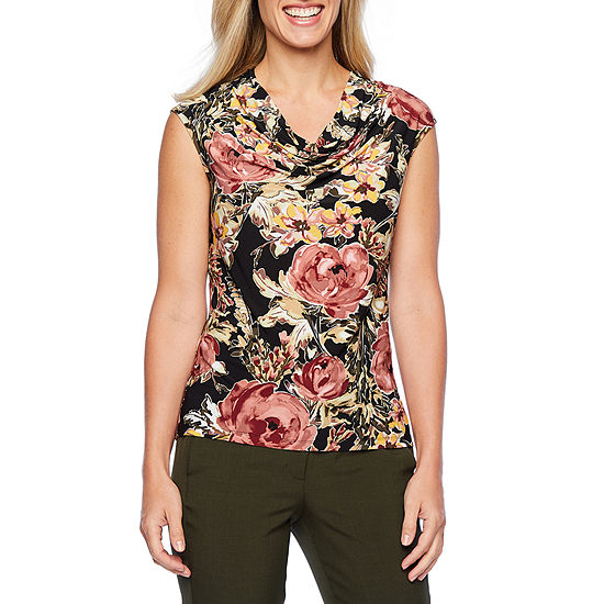 Black Label by Evan-Picone Womens Sleeveless Cowl Neck Blouse