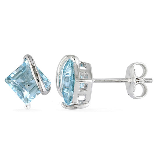Genuine Blue Topaz Sterling Silver 9.7mm Stud Earrings