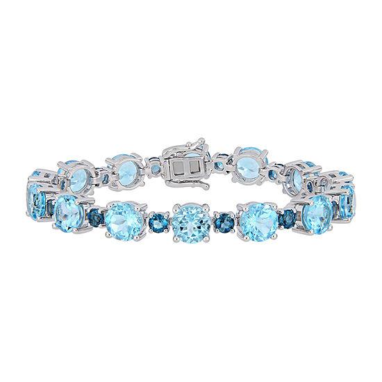 Genuine Blue Topaz Sterling Silver 7.25 Inch Tennis Bracelet