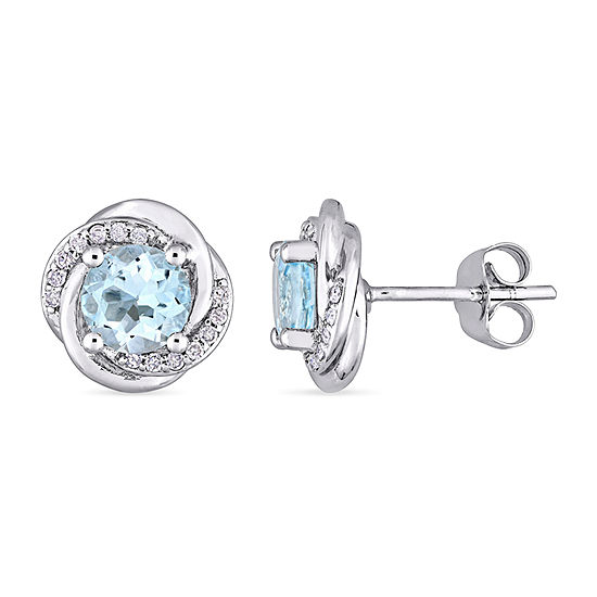 1 7 Ct Tw Genuine Blue Topaz 10k White Gold 108mm Stud Earrings