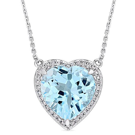 Womens 1/5 CT. T.W. Genuine Blue Topaz 14K White Gold Pendant Necklace