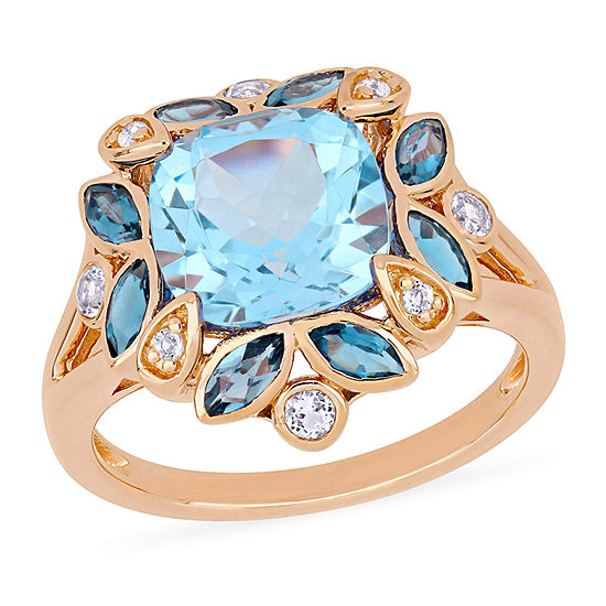 Womens Genuine Blue Topaz 18K Rose Gold Over Silver Cocktail Ring
