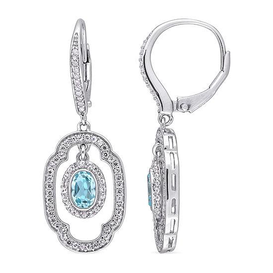 1/10 CT. T.W. Genuine Blue Topaz Sterling Silver Drop Earrings