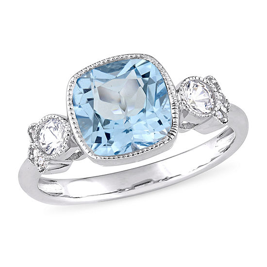 Womens Diamond Accent Genuine Blue Topaz 10k White Gold Cocktail Ring