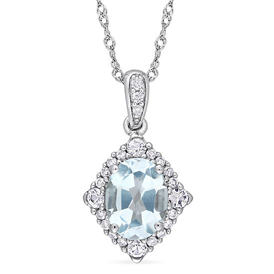 Womens 1/10 CT. T.W. Genuine Blue Topaz 10K White Gold Pendant Necklace