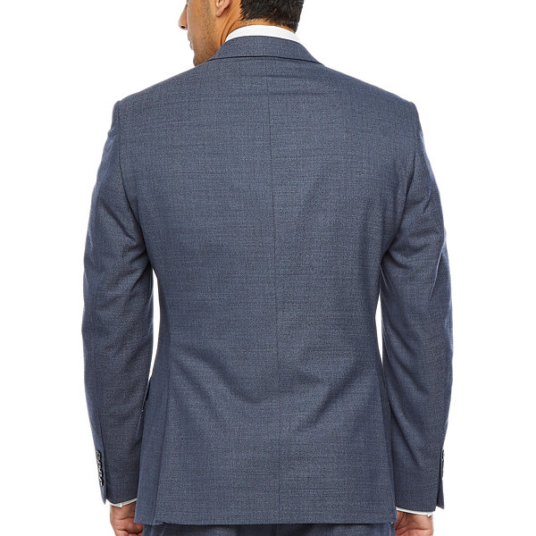 Collection by Michael Strahan  Blue Heather Flannel Mens Stretch Slim Fit Suit Jacket-Slim