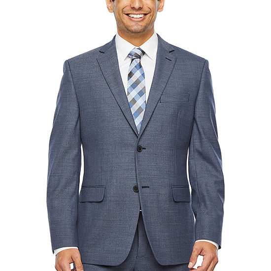 Collection by Michael Strahan  Blue Heather Flannel Slim Fit Stretch Suit Jacket