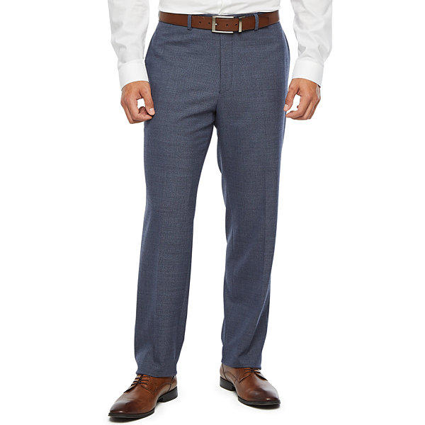 Collection by Michael Strahan  Blue Flannel Heather Mens Stretch Slim Fit Suit Pants