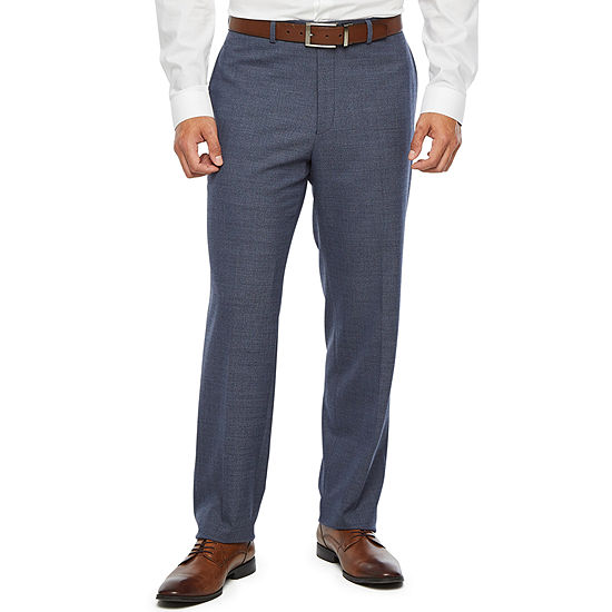 Collection by Michael Strahan  Blue Flannel Heather Slim Fit Stretch Suit Pants