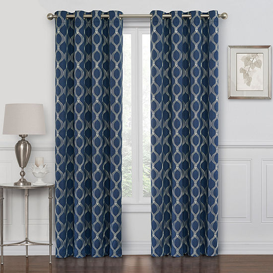 Maxx Blackout Prescott Embroidered 100% Blackout Grommet-Top Single Curtain Panel