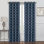 Maxx Blackout Prescott Embroidered Geometric 100% Blackout Grommet-Top Curtain Panel