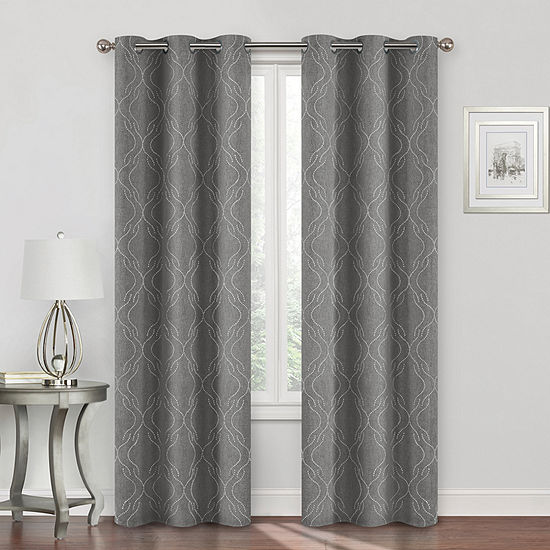 Regal Home Collections, Inc. Sterling Embroidery Energy Saving Blackout Grommet-Top Curtain Panel