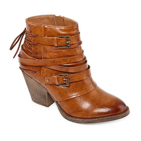 Pop Womens Peeler Booties Block Heel Zip