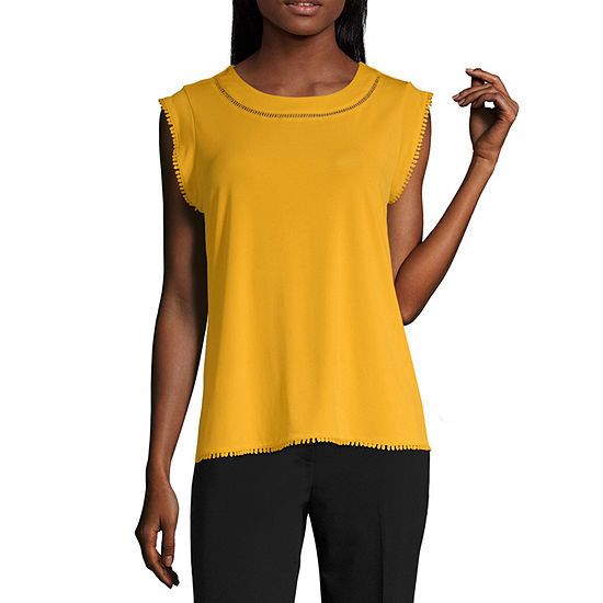 Liz Claiborne Sleevless Trimmed Packable Top - Tall