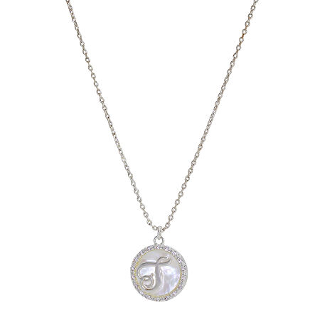 Sparkle Allure Initial Cubic Zirconia Pure Silver Over Brass 16 Inch Link Round Pendant Necklace, One Size , T