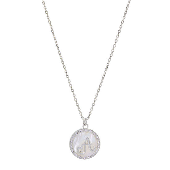 Sparkle Allure Initial Cubic Zirconia Pure Silver Over Brass 16 Inch Link Round Pendant Necklace