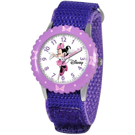 Disney Time Teacher Minnie Mouse Girls Purple Strap Watch-Wds000090