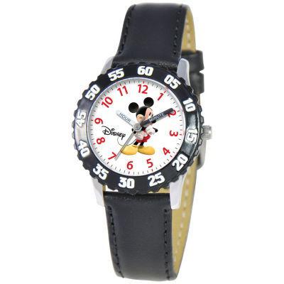 Disney Kids Time Teacher Leather Mickey Watch