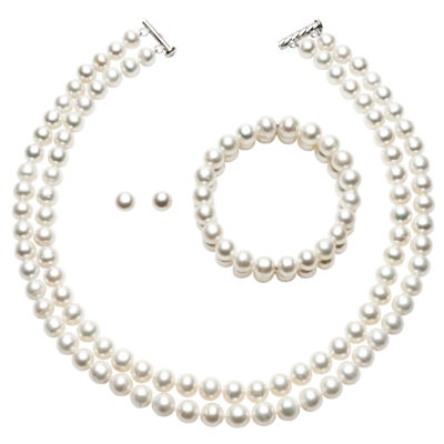 Womens White Sterling Silver 3-pc. Jewelry Set