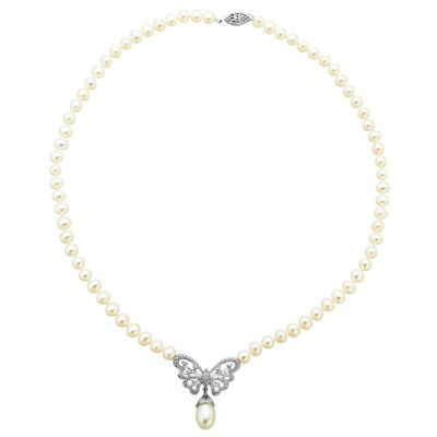 Freshwater Pearl Butterfly Necklace In Sterling Silver