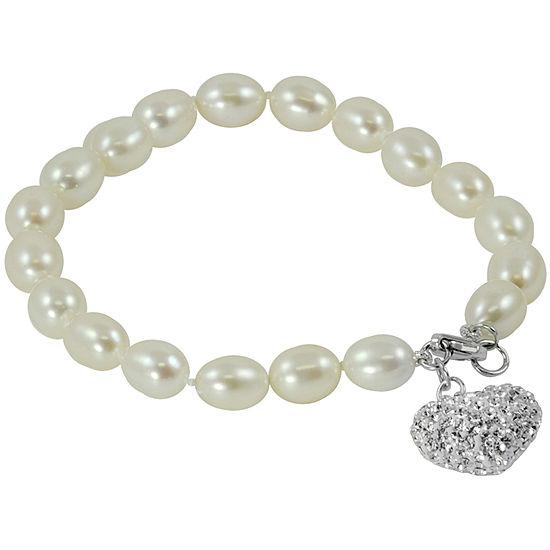 Cultured Freshwater Pearl & Crystal Heart Bracelet