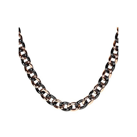 Pink Stainless Steel & Blk Ceramic Chain Necklace
