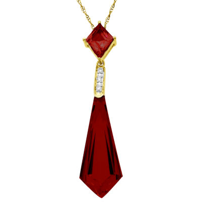 Lab-Created Ruby 14K Gold-Plated Sterling Silver Pendant Necklace