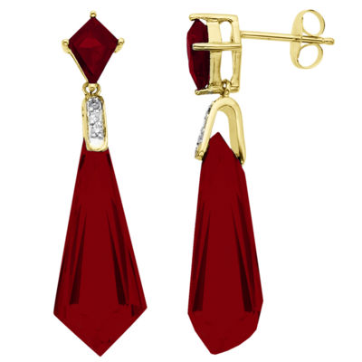 Fine Jewelry Lab-Created Ruby Earrings 14K Over Sterling