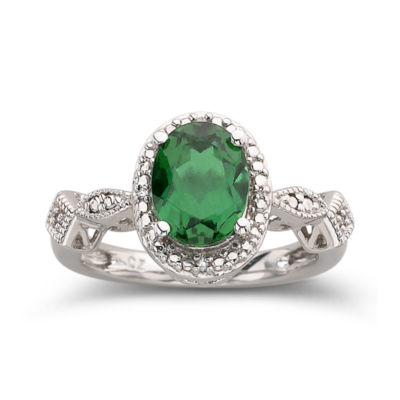Lab-Created Emerald Ring In Sterling Silver