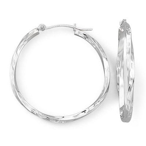 Twist Hoop Earrings 14K White Gold
