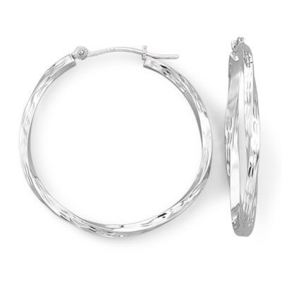 Twist Hoop Earrings 14K White Gold