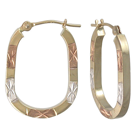 14K Tri-Color Gold Hoop Earrings