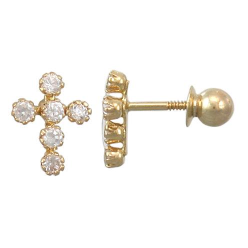 Girls 14K Gold Cubic Zirconia Mini Cross Earrings